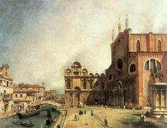 Basilica dei Santi Giovanni e Paolo e la Scuola de San Marco (Sts. John and Paul Basilica and St. Mark's School, Venice) (1725) - Canaletto