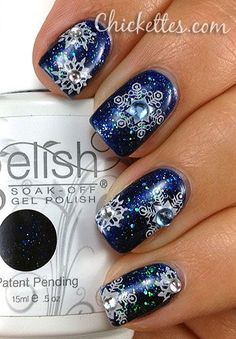 Blue Nails with Snowflakes