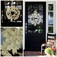 Fall wreath - made from old hymnals.  LOVE this.