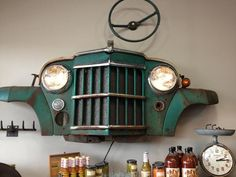 Maybe old truck grill from the Spence farm?  Upcycled car wall art- perfect for the man cave.