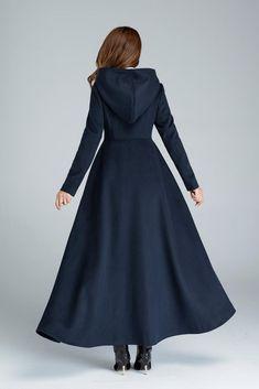 83946efb7 Wool coat winter coat maxi coat navy blue coat warm winter | Etsy