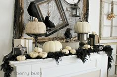 Classy Halloween decor done to perfection. A simple black and white color scheme does the trick (or treat) by Craftberry Bush