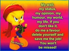 Attitude Meaningful Quotes, Inspirational Quotes, Funny Prayers, Delete Quotes, Tweety Bird Quotes, Good Jokes, Love Words, How I Feel, Amazing Quotes