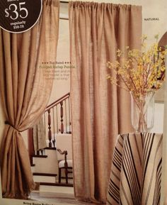 Superb Ballard Designs: Burlap Curtains Swagged In Front Of Open Doorway