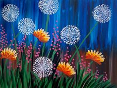 Dandelion Fields. Wildflowers, grass, blue sky. Pink, orange, green, white. Pinot''s Palette