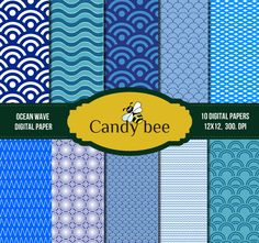 Wave Digital Paper Ocean Waves Blue & White, Beach, Blue Background, Scrapbook paper, Digital paper - SAJ by CandyBeeDesigns on Etsy https://www.etsy.com/listing/172073851/wave-digital-paper-ocean-waves-blue