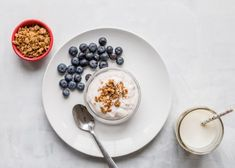 10 Toddler Breakfast Ideas - a photo of a red cup of granola, a white plate with blueberries next to a cup of yogurt topped with granola on a white background - click photo for full written recipes Yogurt Breakfast, Blueberry Breakfast, Breakfast Bake, Breakfast For Kids, Breakfast Ideas, Picky Toddler Meals, Toddler Snacks, Kids Meals, Toddler Menu