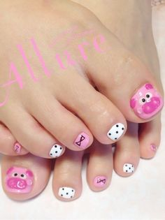 Fails art facile pieds ideas for 2019 Girls Nail Designs, Pedicure Designs, Manicure E Pedicure, Toe Nail Designs, Pedicures, Pig Nail Art, Pig Nails, Little Girl Nails, Girls Nails
