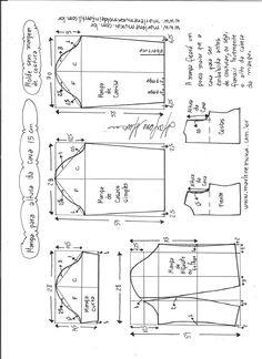 >Esquema de modelagem de mangas curta, de casaco, camisa e alfaiate para altura de cava de 15 cm.