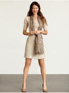 Banana Republic for Winter.  I like the nice plan neutral dress & the soft-looking scarf.