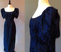 70s Blue Gown Long Evening Dress Formal Gown by StraylightVintage