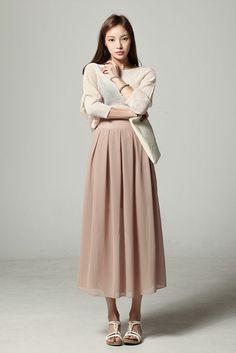 Chiffon Long Skirt 4Cs