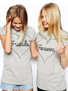 The Top 3 Things You & Your BFF Need to Have NOW! How fun is it to share something special with your BFF? Some of our favorite celebrity best friends inspired us to go. Bff Shirts, Best Friend Shirts, Friends Shirts, Cute Love Heart, Grunge, T Shirt Top, Grad Gifts, Tumblr, Best Friends Forever