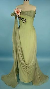 1950's Howard Greer green silk evening gown with rose decoration.