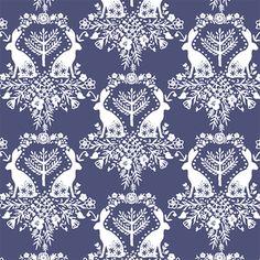 Hawthorne Threads - Cottontail - Cottontail Damask in Indigo #HTDreamNurseryContest