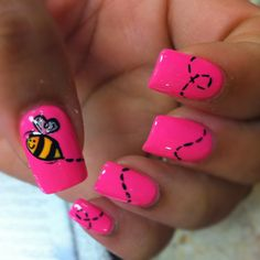 #pink nails and a buzzing bee.  I would choose another color besides pink though.