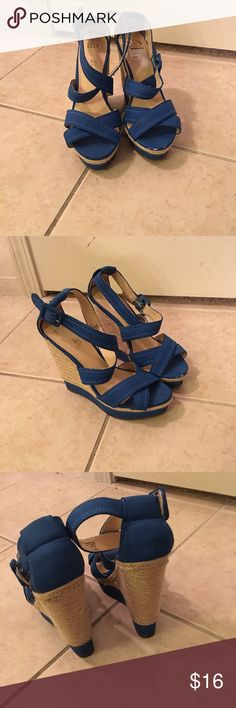 Wedge Sandals Size 8, blue wedge heeled sandals. No box Shoes Wedges
