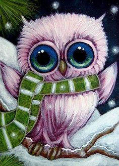 Cyra R. Cancel | Art: HOLIDAY PINK OWL & SCARF by Artist Cyra R. Cancel #CyraCancelArt #Cyra #Art