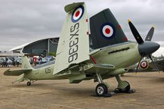 Looks to be a Supermarine Seafire F Mk 47. That version had the Griffon and the double wing-folding design.