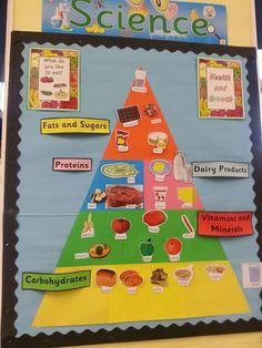 Children draw pictures of food and add to the food pyramid as the topic progresses.