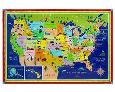 Kids United States Map Classroom Art Childs Room Decor Nursery Decor