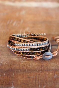 Le Wrap Bracelet en pierres semi précieuses et cuir, fait mains par ,Wv,