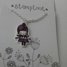 Shrink plastic cute little purple fairy pendant necklace £12.00