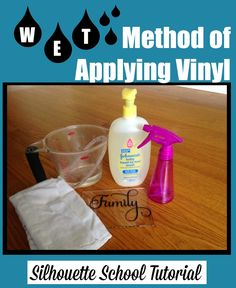 Vinyl Wet Application Method Tutorial #Silhouette #Silhouetteideas #silhouetteprojects #silhouettetutorials #silhouettevinyl #htv.