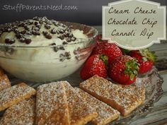 Cream Cheese Chocolate Chip Canoli dip is easier to make than you might think! Great to make for a crowd. #dessert #appetizer