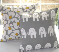 Sale, Children,  Decorative Pillow, Kids Room Baby Nursery 16 x 16 Gray Elephant, Gray and Yellow Floral MORE Sizes. $28.00, via Etsy.