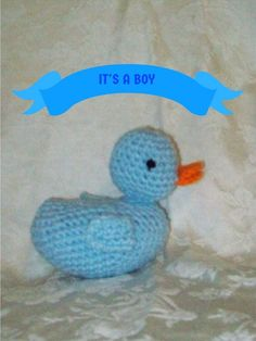 Crochet  Blue Duck Crochet Rubber Ducky Handmade by amydscrochet