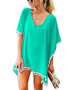 08a6d0f757 Adreamly Women's Pom Pom Trim Kaftan Stylish Chiffon Swimwear Beach Cover Up  Free Size Light Green more colors beach coverup for bathing suit beachy  trendy ...