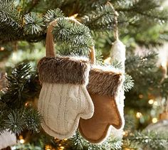 Fur Trim Mittens Ornament. Make from old coats and sweaters. Trim with faux fur.