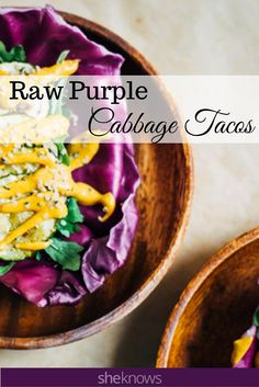 Raw purple cabbage tacos. Raw chipotle aioli and baked veggies in purple cabbage tortillas make for a tasty Taco Tuesday.