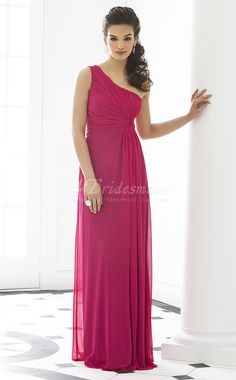 Gorgeous dress & I LOVE the curls over the shoulder!  A-line One Shoulder Velvet Chiffon Floor-length Fuchsia Bridesmaid Dresses(BD252)