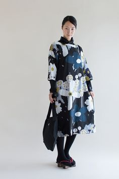 Naginata Round Sleeve Dress Hundreds of Flowers Muslin Extra Length : SOU • SOU US Online Store