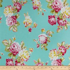 Tanya Whelan Sunshine Roses Blue from @fabricdotcom  Designed by Tanya Whelan for Free Spirit, this cotton fabric is perfect for quilting, apparel and home decor accents. Colors include blue, green, pink and white.