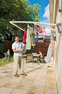 IN STOCK: best prices on Hills Supa Fold Mono Wall Mounted Folding Clothes Washing Line - Pebble Beach Beige - choose between 55 Outdoor washing lines and airers Outdoor Washing Lines, Outdoor Clothes Lines, Clothes Drying Racks, Washing Clothes, Clothes Dryer, Clothes Hanger, Pergola Plans, Diy Pergola, Pergola Kits