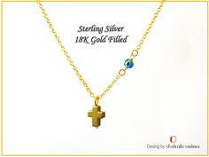 Dainty Cross Necklace with Tiny Blue Glass Evil Eye. Arrow Necklace, Gold Necklace, Evil Eye Pendant, Gold Filled Chain, 18k Gold, Jewels, Sterling Silver, Unique Jewelry, Glass