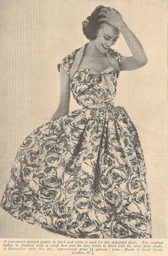 "Vintage 1950s Horrockses dress from ""My Home"" mag. June 1954. Dress orig. priced at 7 1/2 guineas - VERY expensive in its day!"