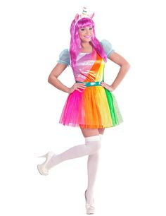 Rainbow Unicorn Costume for Adults  This rainbow unicorn costume for adults  includes a dress and. Déguisement ... efa2e0186a8f