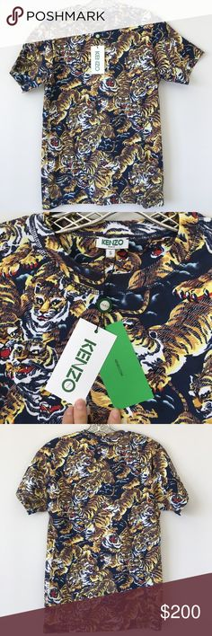 KENZO flying tigers tee! Brand New, Never Worn with tags and original packaging. Multicoloured cotton 'Flying Tiger' T-shirt from Kenzo featuring a round neck and short sleeves. Men's size small. Kenzo Shirts Tees - Short Sleeve