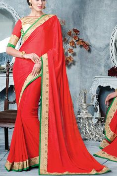 Maroon & Cream Silk Georgette Saree With UnStitch Art Silk Blouse