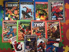 Made superhero book covers for my son's first year at school using comic book covers.   -I think the teacher will know which are his!