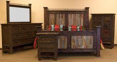 Las Piedras Rustic Bedroom Set with Colored Panels Rustic Bedroom Furniture Sets, Furniture Design, Queen Size Bedding, Wood Construction, Rustic Design, Dallas, Texas, Color, Home Decor