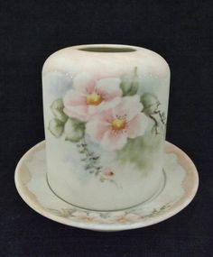 Porcelain pink apple blossom  tea light/candle holder hand painted by OnItsWay on Etsy
