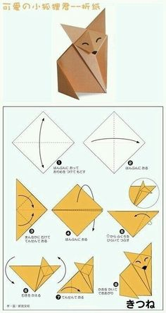 DIY by M.: printable pour le petit prince Pluslittle prince fox origami - party craft ideaPlaying and Crafting: How to Make Fox - Origami Pretty clear visual on folding this cute guy.Origami fox - the instructions aren't in English, but the diagram i Origami Design, Origami Simple, Instruções Origami, Origami And Kirigami, Paper Crafts Origami, Origami Bookmark, Origami Fox Easy, Easy Oragami, Origami Hearts