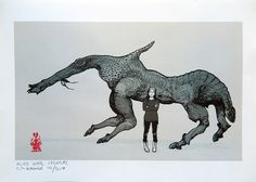 Concept-development process of a horse-like alien creature: ▲ I started with a collage made from interestingly-shaped pieces of driftwood. ▲ I sketched out the basic form and anatomy. ▲ Made a refined...
