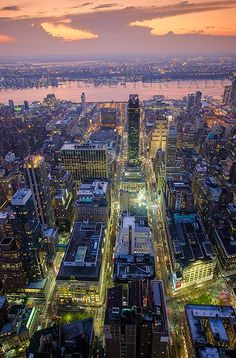 Beautiful View of Midtown Manhattan and Hudson River at Dusk