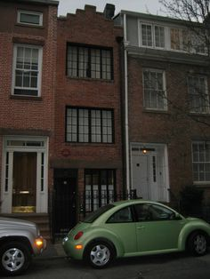 New York City's narrowest house, 75 1/2 Bedford Street [with the dark door] was built in 1873 and is less than ten feet wide, is 30 feet deep and has a rear garden... New York Architecture